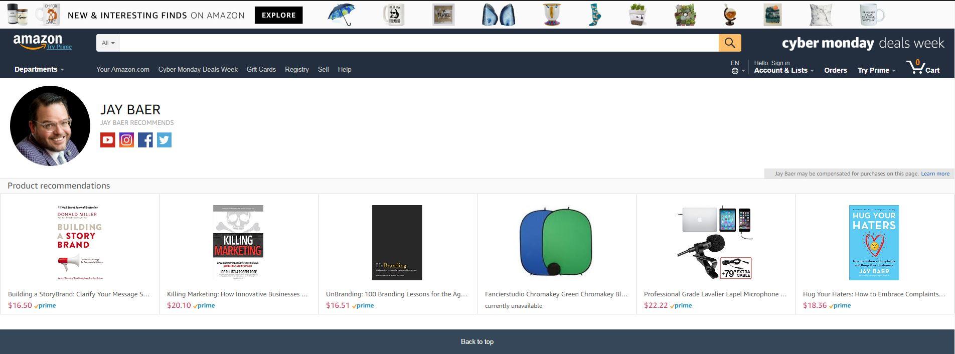Example of Amazon's Influencer Marketing Storefront